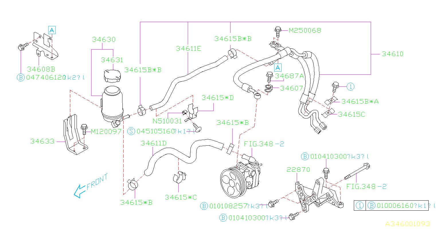 2005       Subaru       Legacy    Brackettank Steering  system  power