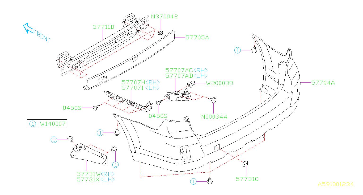 Byers Airport Subaru >> Subaru Outback 2.5L CVT Limited w/EyeSight Bracket-rear bumper side, left. Body - 57707AJ35A ...